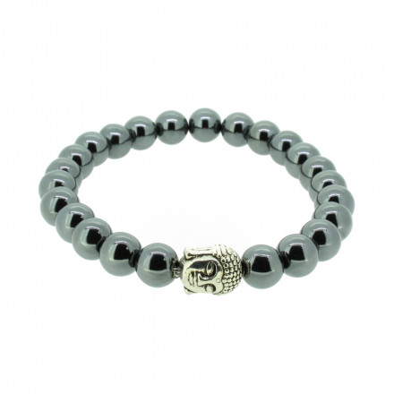Silverart Buddha Armband 107843 FAB037 Hämatit dunkelgrau glänzend Metal nickelfrei versilbert
