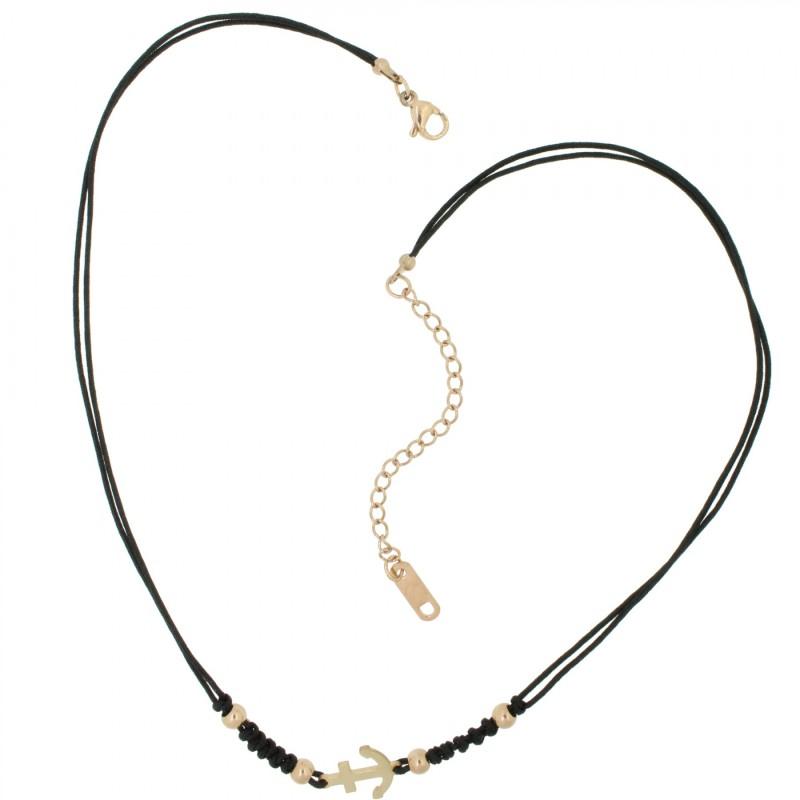 HAFEN-KLUNKER HARMONY Choker Halskette Anker 110439 Textil Edelstahl Schwarz Rosegold