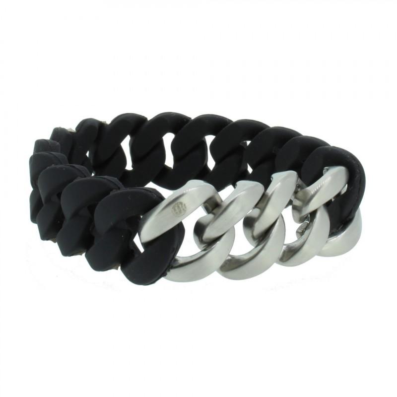 HANSE-KLUNKER ORIGINAL Herren Armband 106975 Edelstahl schwarz silber matt