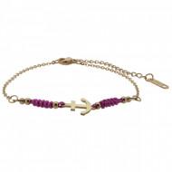 HAFEN-KLUNKER Anker Armband 108181 Textil Edelstahl Fuchsia Rosegold