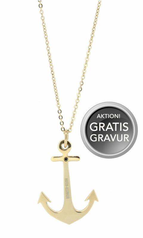 HAFEN-KLUNKER Glamour Collection Halskette Anker Edelstahl Anker mit Zirkonia rosegold AKTION