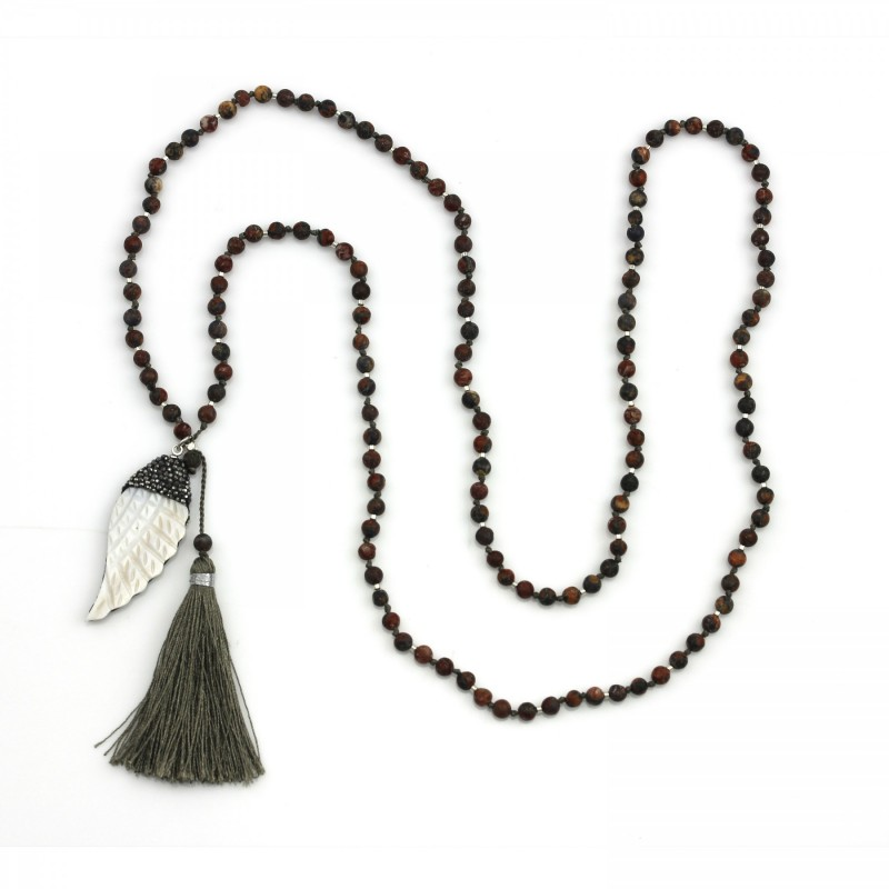 PEARL BAY Damen Perlenkette 107586 Quaste Engelsflügel Muschel Strass Stein taupe