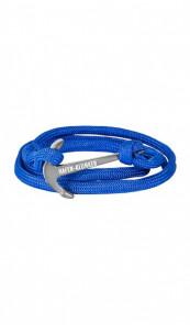 HAFEN-KLUNKER Wickelarmband Anker 107662 Edelstahl Textil blau silber matt