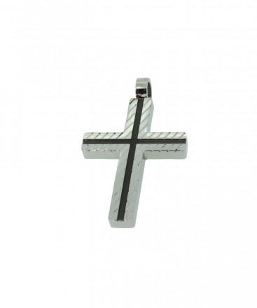 Grey Kreuz Anhänger GAH004 Edelstahl grau schwarz