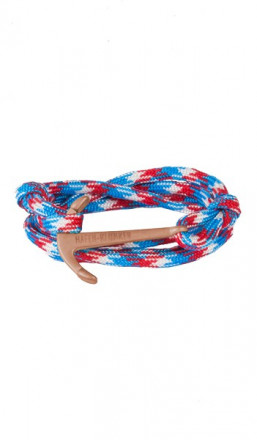 HAFEN-KLUNKER Wickelarmband Anker 107678 Edelstahl Textil blau rot meliert rosegold matt