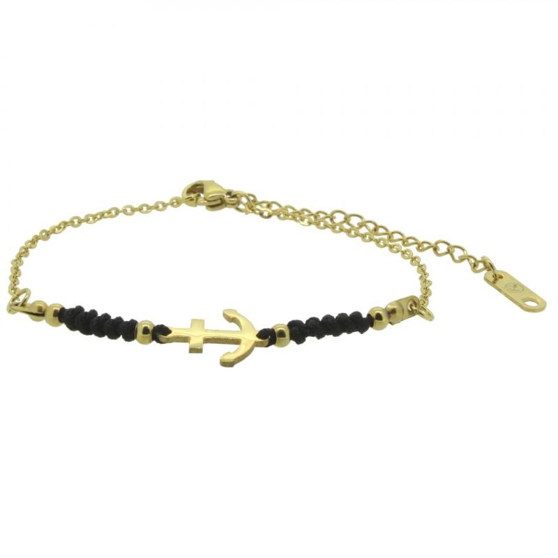 HAFEN-KLUNKER HARMONY Anker Armband 110423 Textil Edelstahl Schwarz Gold