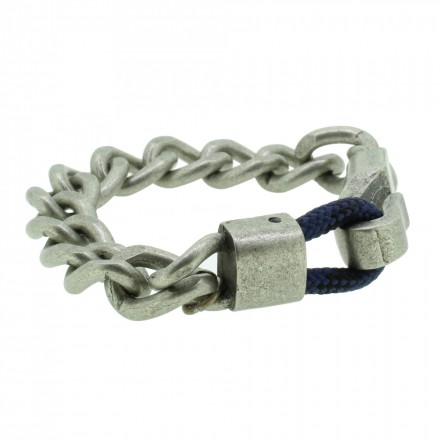 THO Herren Armband 107801 THO-AB002 Metal nickelfrei Textil grau blau