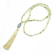 PEARL BAY Damen Perlenkette 107619 Quaste Muschel Strass Stein Kristall beige weiss