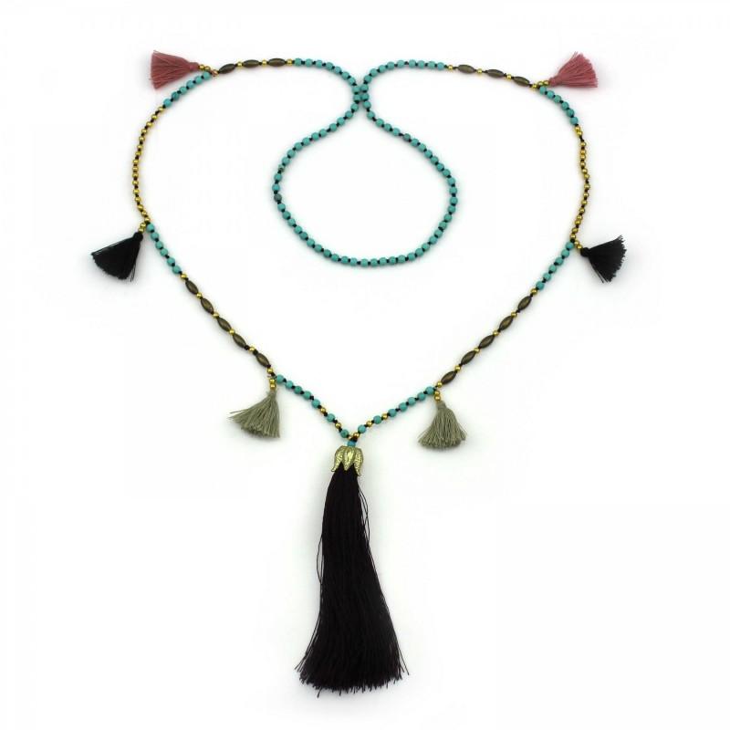 PEARL BAY Damen Perlenkette 107609 Quaste Metall Stein lila gold türkis