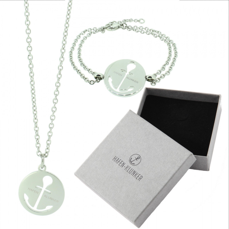 HAFEN-KLUNKER - SET: Glamour Halskette Anker und Armband 110462 Edelstahl Silber