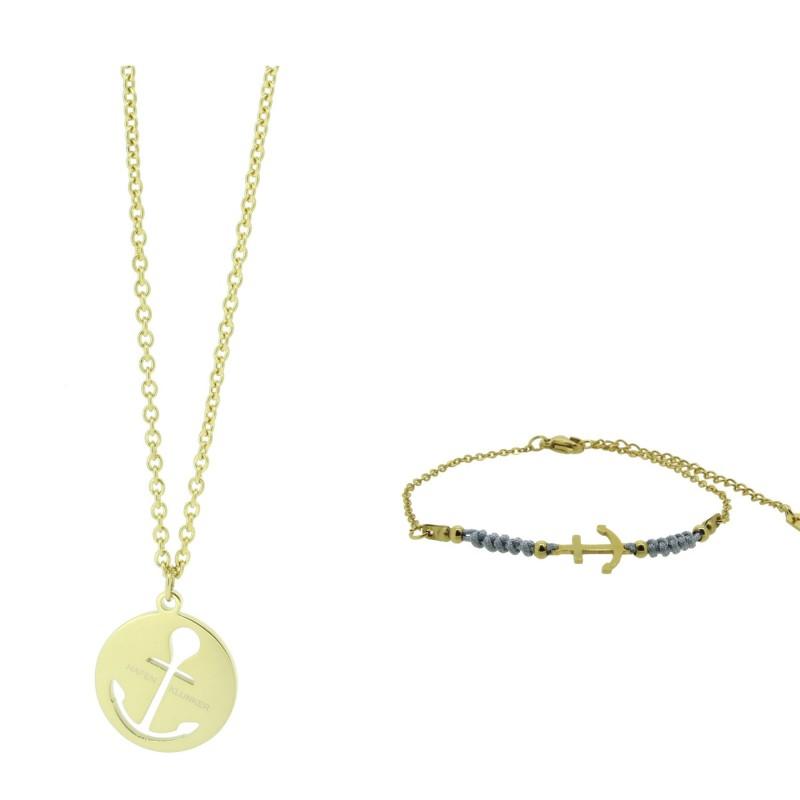 HAFEN-KLUNKER - SET: Halskette Anker Groß und Armband Harmony 110618 Edelstahl Gold