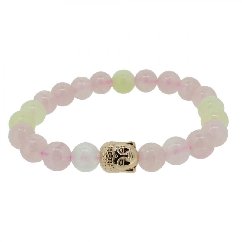 Silverart Buddha Armband 108089 FAB080 Rosequarz Baryt rosa beige Metal nickelfrei rosegold
