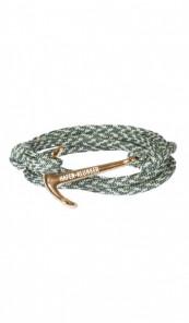 HAFEN-KLUNKER Wickelarmband Anker 107704 Edelstahl Textil grün meliert rosegold