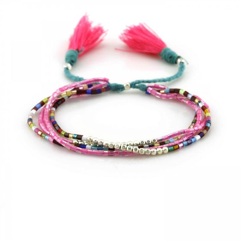 PEARL BAY Perlenarmband geflochten 107565 Quaste Miyuki pink grün