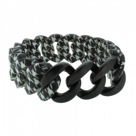 HANSE-KLUNKER ORIGINAL Damen Armband 107401 Edelstahl pepita schwarz matt