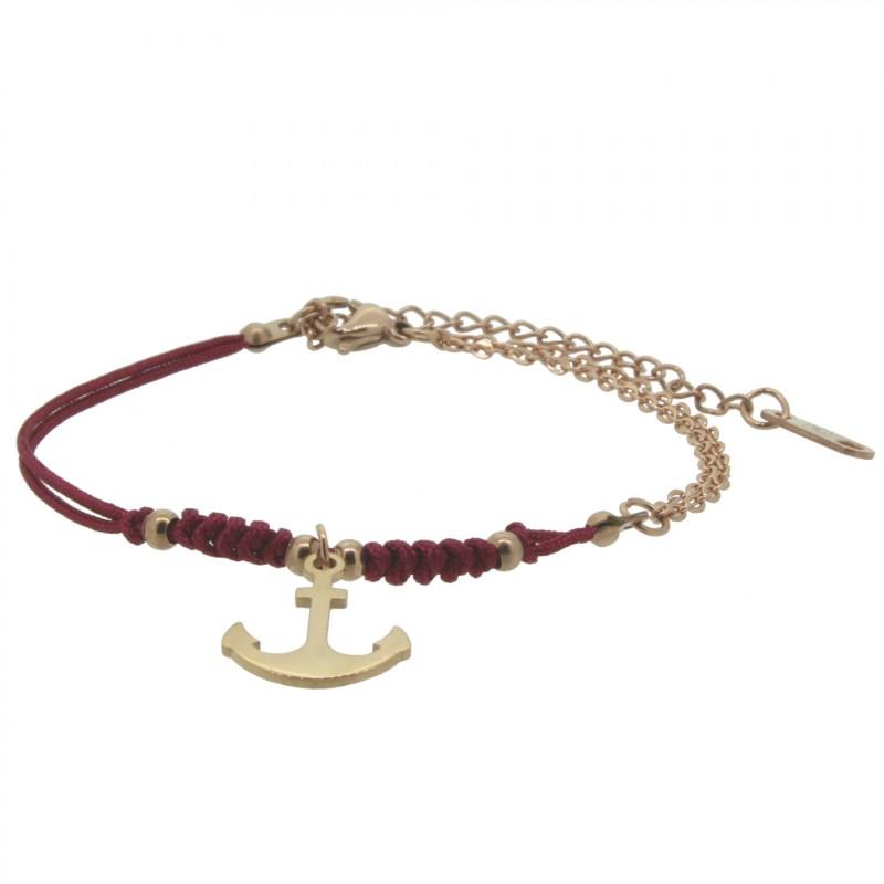HAFEN-KLUNKER HARMONY Anker Armband 110412 Textil Edelstahl Rot Rosegold
