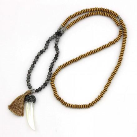 PEARL BAY Damen Perlenkette 107612 Quaste Haifischzahn Strass Holz Muschel Kristall braun grau