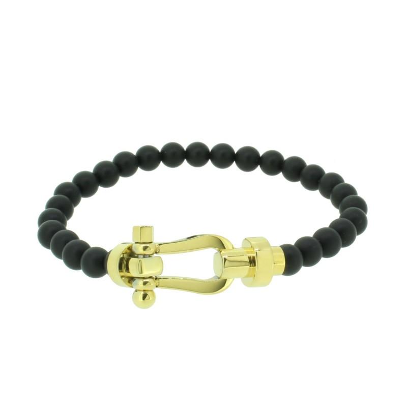HAFEN-KLUNKER HAPPINESS Collection Armband Schäkel 110539 Edelstahl Onyx Schwarz Gold