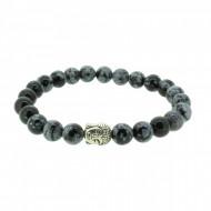 Silverart Buddha Armband 107844 FAB036 Obsidian schwarz grau Metal nickelfrei versilbert