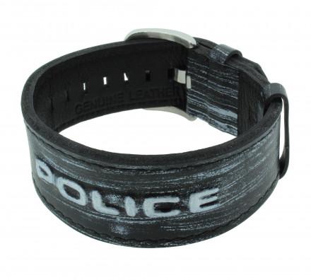 POLICE Herren Armband PJ24291BLMS-04 Leder schwarz grau