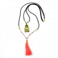 PEARL BAY Damen Kette 107597 Quaste Buddha Leder Kristall neonkoralle gold schwarz