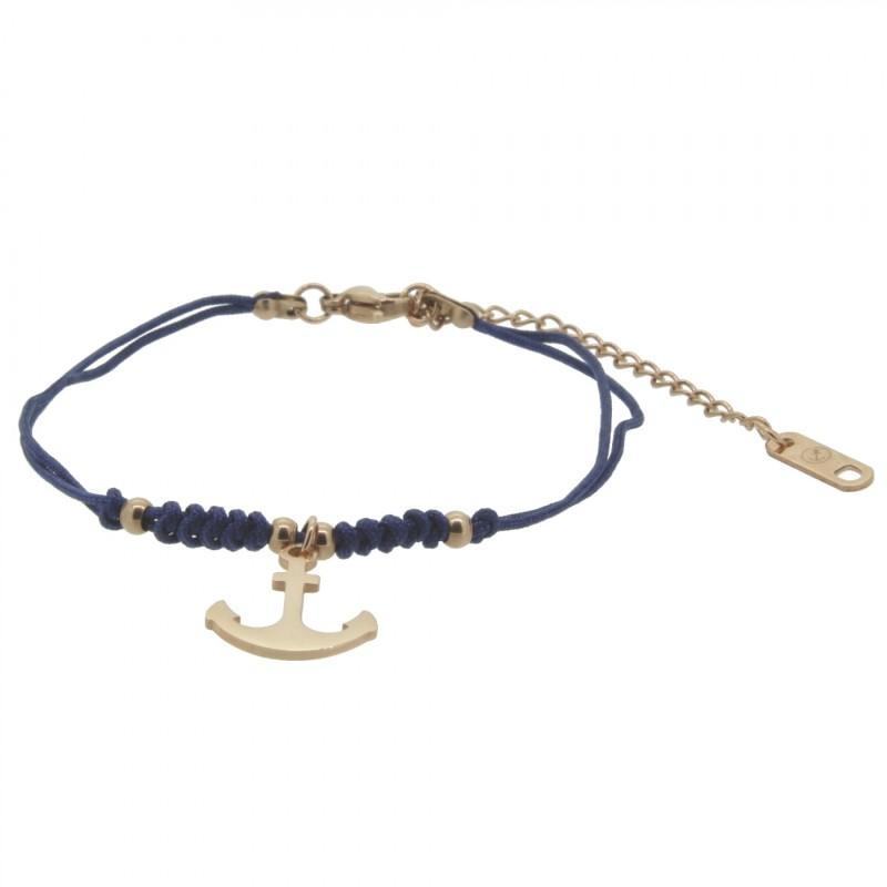 HAFEN-KLUNKER HARMONY Anker Armband 110415 Textil Edelstahl Blau Rosegold