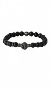 HAFEN-KLUNKER Armband Anker 107702 Edelstahl Onyx Stein schwarz grau