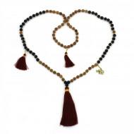 PEARL BAY Damen Perlenkette 107596 Metall Elefant Quaste Lava gold braun schwarz