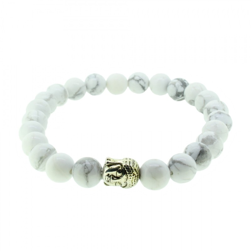Silverart Buddha Armband 107879 FAB001 Howlith weiß Metal nickelfrei versilbert