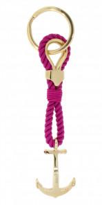 HAFEN-KLUNKER Sailor Collection Schlüsselanhänger Anker 108068 Textil Edelstahl fuchsia rosegold