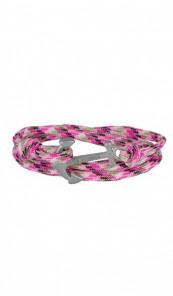 HAFEN-KLUNKER Wickelarmband Anker 107673 Edelstahl Textil pink meliert silber matt