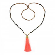 PEARL BAY Damen Perlenkette 107625 Quaste Miyuki Lava Kristall neonorange schwarz braun