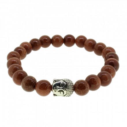 Silverart Buddha Armband 107869 FAB011 Sandstein braun glitzernd Metal nickelfrei versilbert