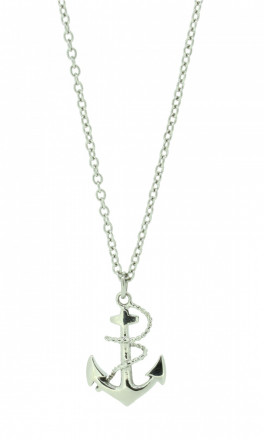 HAFEN-KLUNKER Glamour Collection Halskette Anker 108037 Edelstahl Anker mit Tau silber