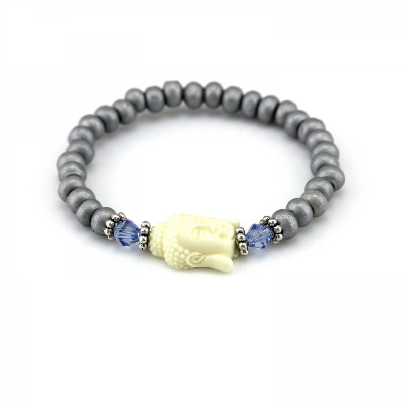 PEARL BAY Perlenarmband 107557 Buddha Holz Kristall grau beige