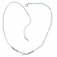 HAFEN-KLUNKER Choker Halskette Anker 108197 Textil Edelstahl Hellgrau Silber
