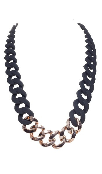 HANSE-KLUNKER Damen Kette 107072 Edelstahl schwarz rosegold