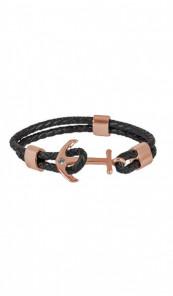 HAFEN-KLUNKER Anker Armband 107683 Edelstahl Leder Zirkonia schwarz rosegold