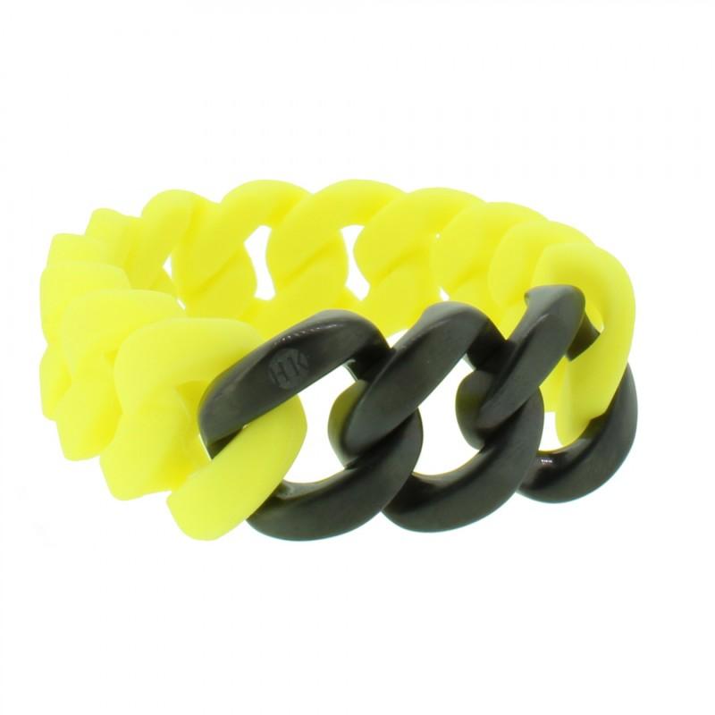 HANSE-KLUNKER ORIGINAL Damen Armband 107425 Edelstahl gelb schwarz matt