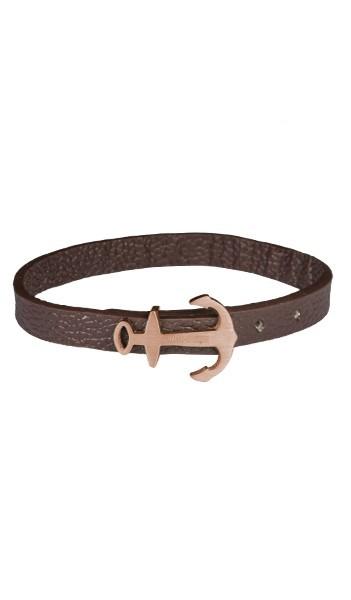 HAFEN-KLUNKER MINI Anker Armband 107764 Edelstahl Leder braun rosegold matt