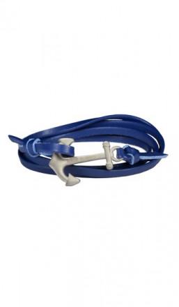 HAFEN-KLUNKER Wickelarmband Anker 107743 Edelstahl Leder blau silber matt