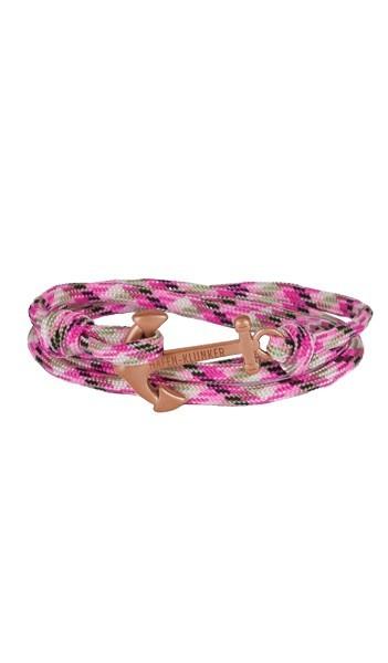 Armband Anker Damen In Rosegold Matt & Pink-Meliert Edelstahl & Nylon - Wickelarmband verstellbar, Geschenk Für Frauen