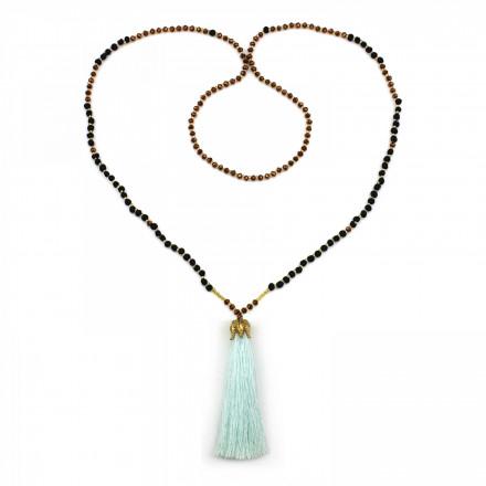 PEARL BAY Damen Perlenkette 107611 Quaste Miyuki Lava Kristall türkis schwarz braun