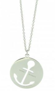 HAFEN-KLUNKER Glamour Collection Halskette Anker 108052 Edelstahl Anker ausgestanzt rund groß silber