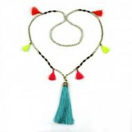 PEARL BAY Damen Perlenkette 107608 Quaste Stein Metall türkis gold beige
