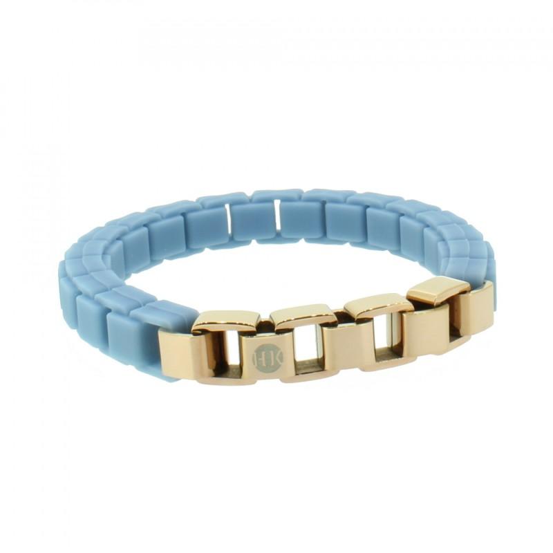 HANSE-KLUNKER FASHION Damen Armband 108009 Edelstahl pastellblau rosegold